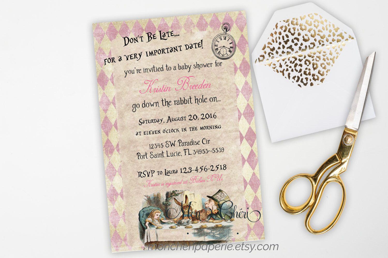 Alice in Wonderland Baby Shower Invitation, Vintage Baby Shower ...