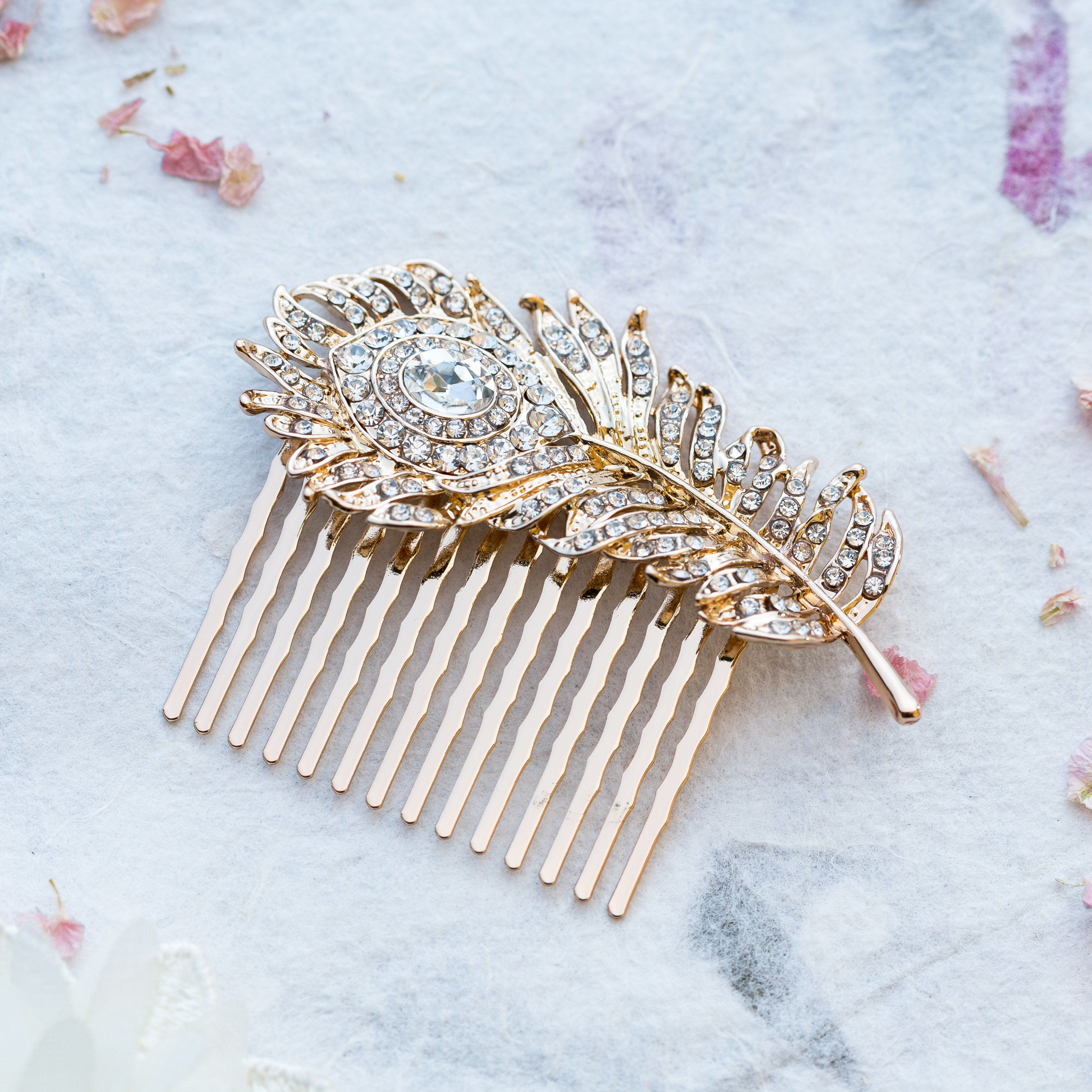 carla crystal gold feather hair comb | wedding hair combs