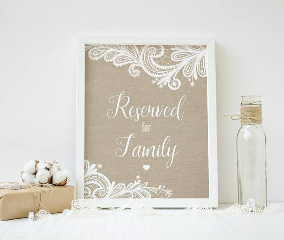 reserved sign wedding seating burlap lace reserved table sign