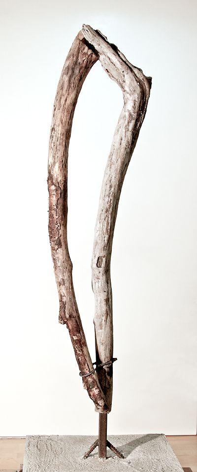 Lasse Nissilä: Hiljaisuus (Silence) 2013. Wood and metal. 170x56x60cm.