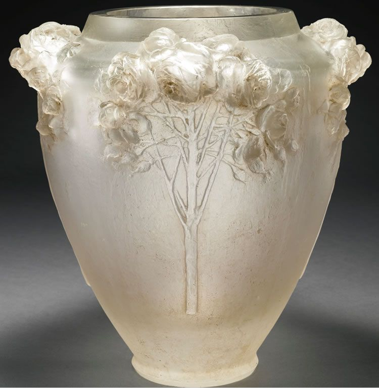 Ren Lalique 1860 1945 Cire Perdue Roses Glass Vase Lovely