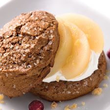 Tender, spiced pears nestled on whipped cream in a gingery scone.