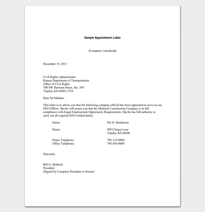 Company Appointment Letter Docs For Word And Pdf Format Business