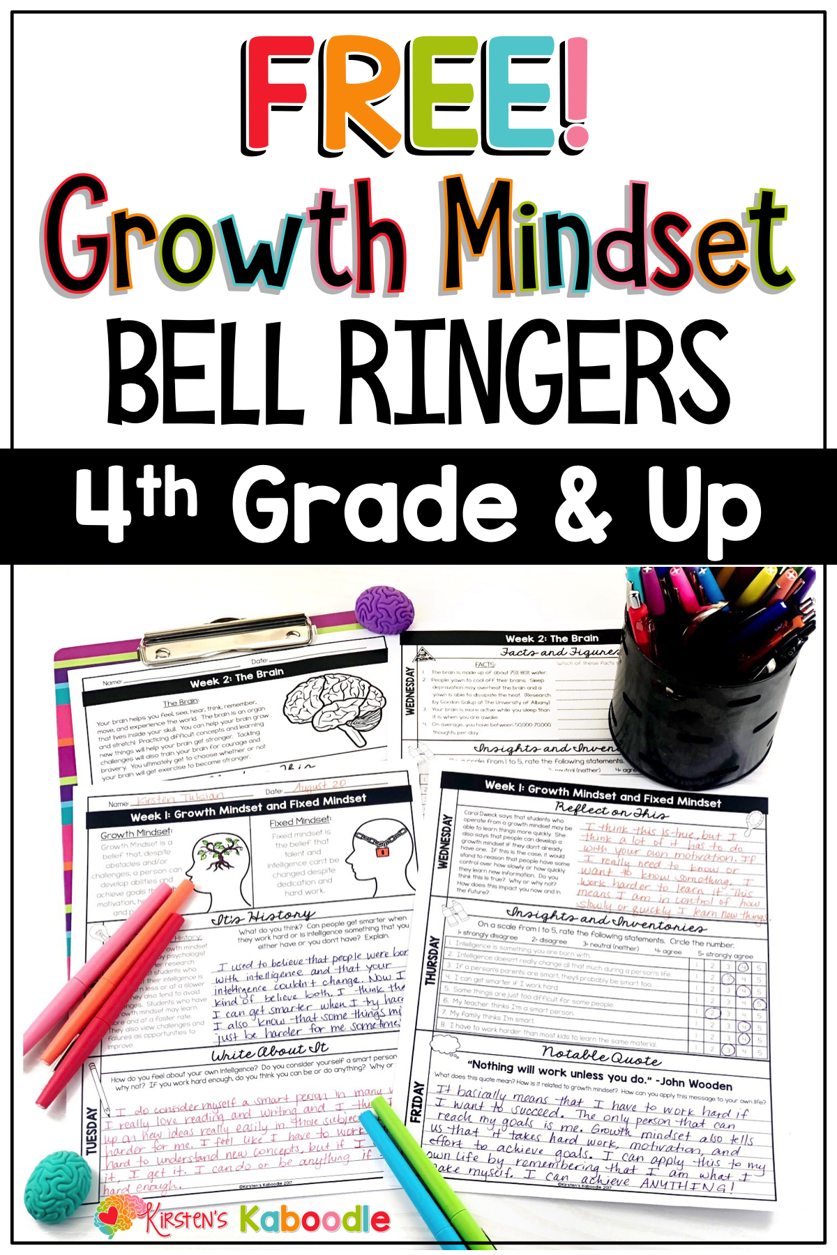 Free Growth Mindset Activities Bell Ringer Warm Ups For