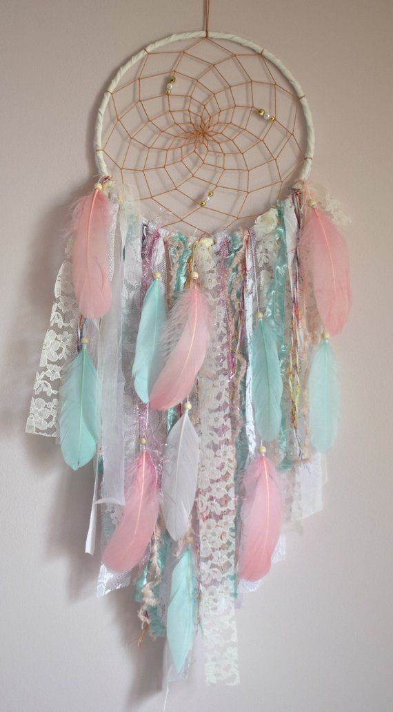Boho large dreamcatcher mint pink dream catcher wall hanging decor pink and mint diy projects - Tenture chambre bebe ...