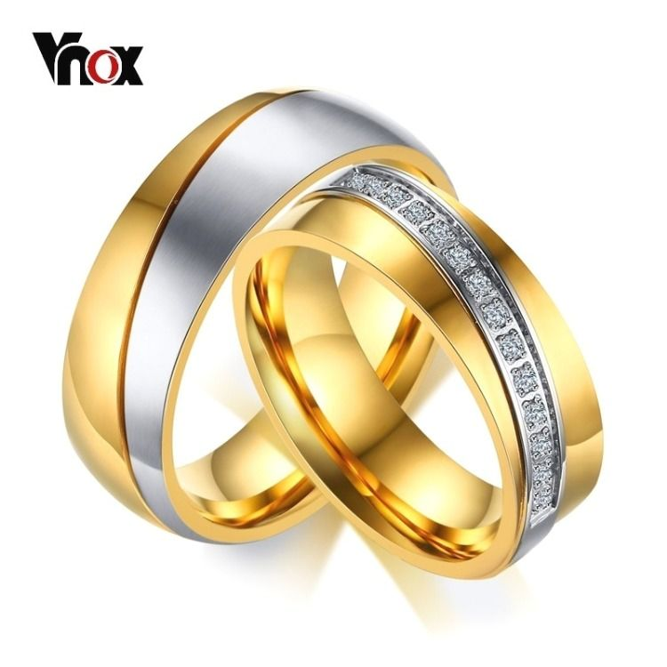 Wedding Rings For Women Men Anniversary Band Gold Color Stainless