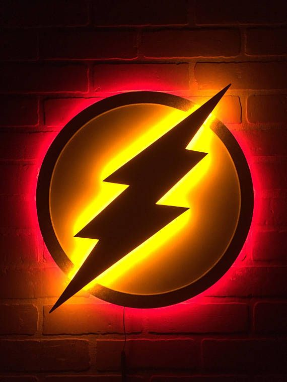 Fans Of The Flash Here Ya Go This Dual Color LED Logo Is For You Original White And Gold With Lights Out Then Flip Switch An