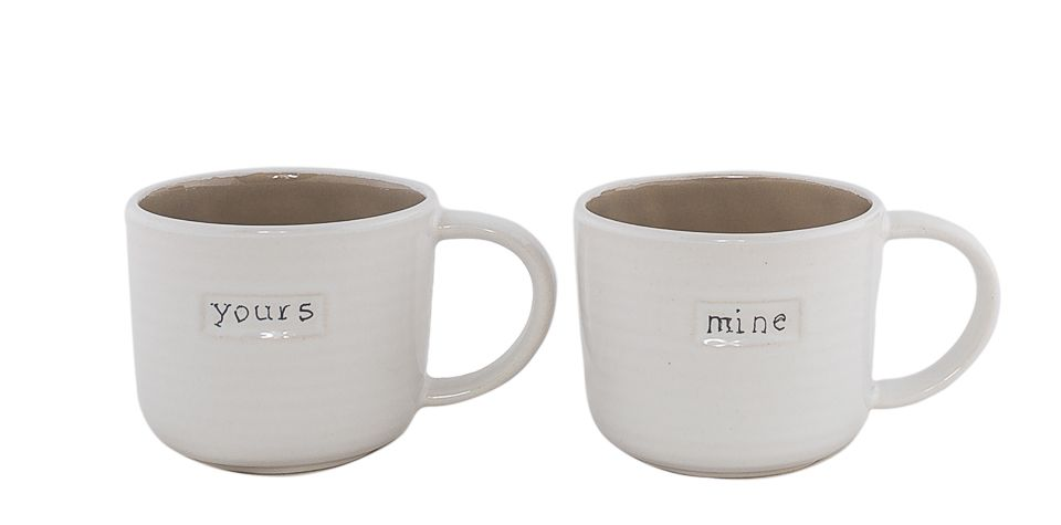 "Set 2 Cani din Ceramica ""Mine, Yours"" 400ml"