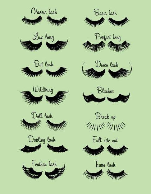 afeca2ec1c2 Diagram of all different types of eyelashes! #beauty | Eye Wanna Go ...