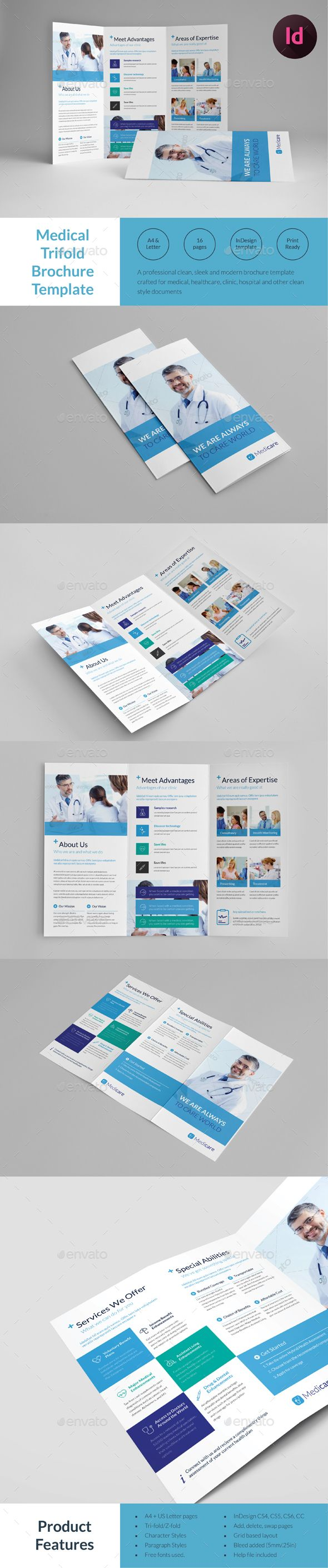 Medical Tri-fold Brochure Template InDesign INDD. Download here ...