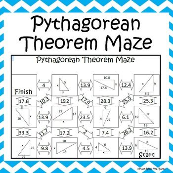 Pythagorean Theorem Worksheet Maze Activity Pythagorean Theorem Theorems Geometric Mean