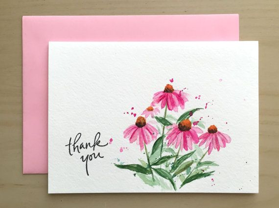 Hand Painted Card Flower Thank You Card Purple By Cardwithheart