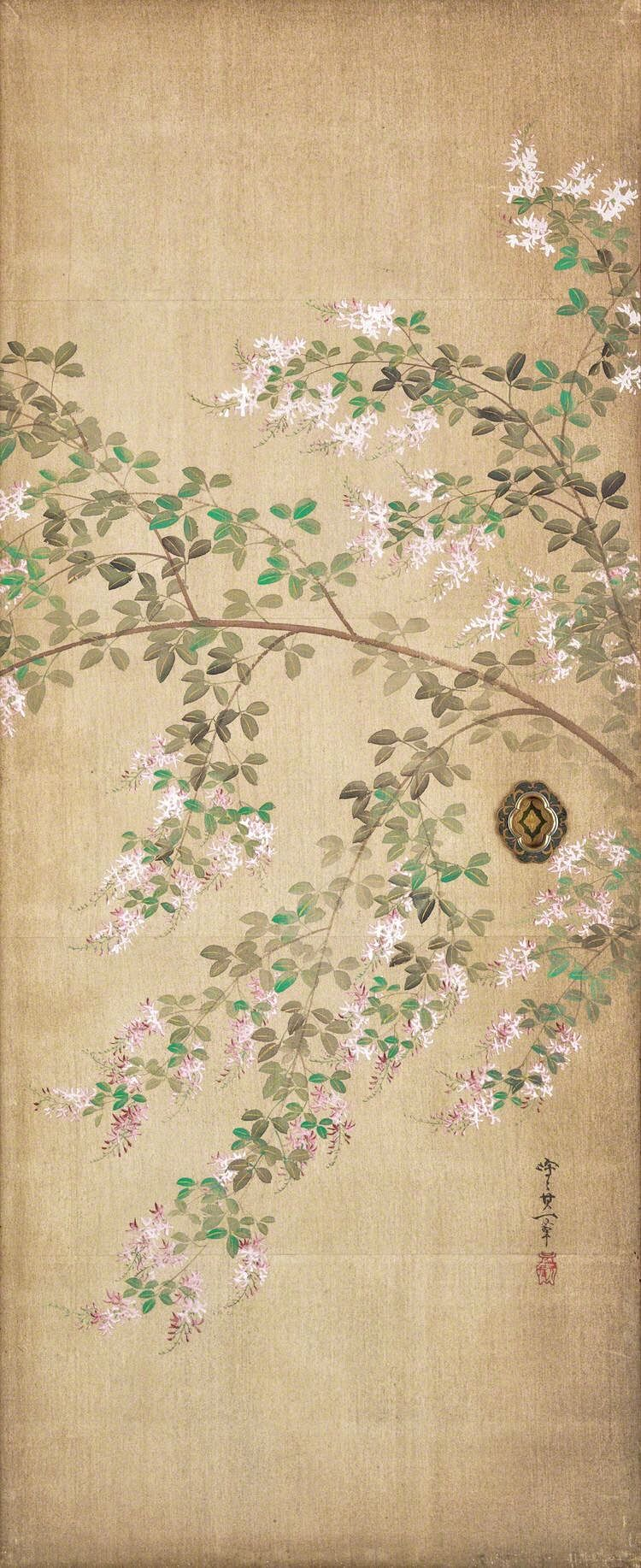 Image result for Japanese paintings and artwork white bush clover