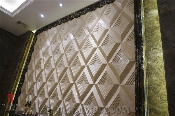 Turkey Latte Beige 3d Marble Cnc Wall Panels Foshan