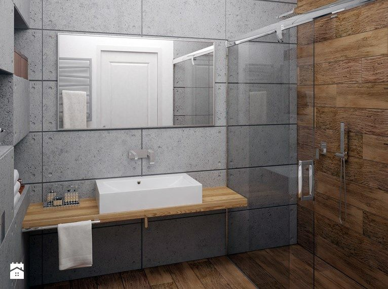 Zdjecie Lazienka Beton Architektoniczny Bathroom Inspiration Wooden Bathroom Lighted Bathroom Mirror