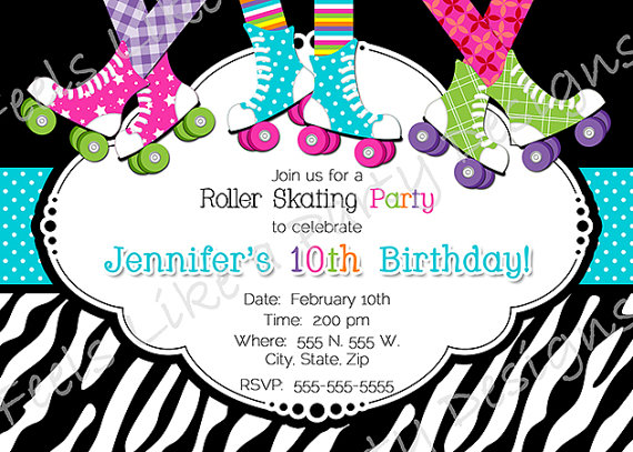 This super fun and colorful roller skating party pack listing – Free Printable Roller Skating Party Invitations