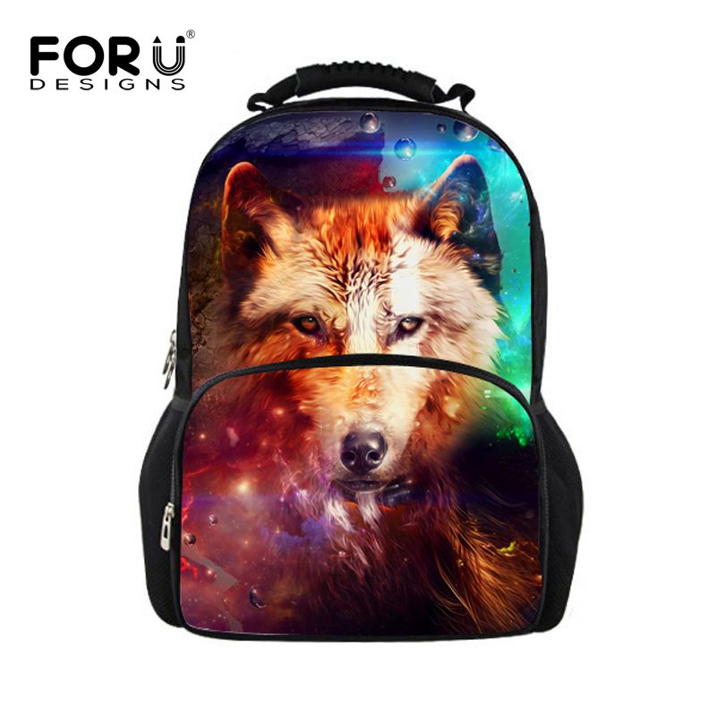 4d264ae6b8 Trendy Wolf Tiger Casual Backpack For Boys Cool Animal Print Men Mochilas  Teenagers Children Double-