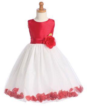 red and white rose petal flower girl dress | Valentine Themed ...