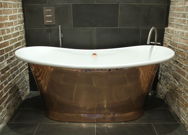 William Holland Copper Bath - Polished Copper Exterior with Enamel ...