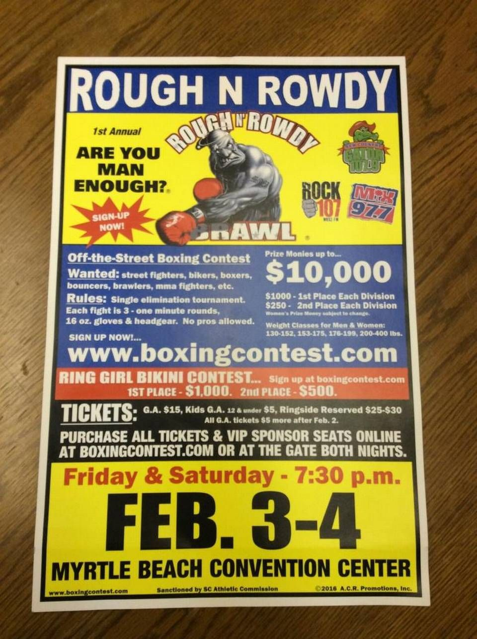 A flier for this weekend's Rough N Rowdy Brawl at the