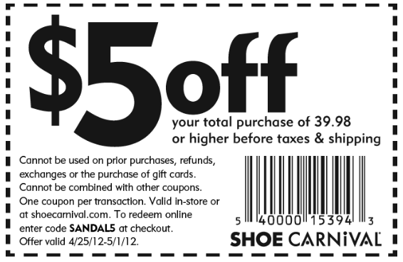 Printable coupons, Shoe carnival