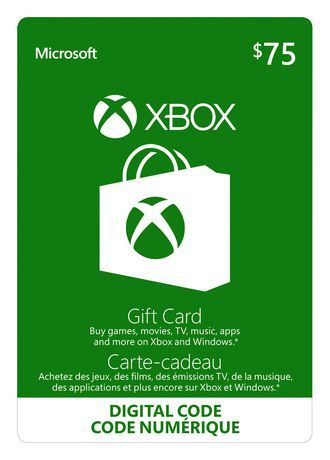 Microsoft Xbox Live Gift Card $75 Cad Digital Download in 2019