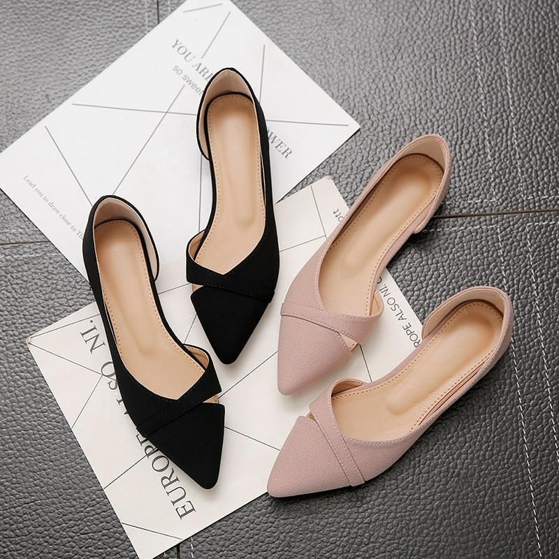 Women Flats Pink Black Pure Color Plus Small Size 33 34 Large 41 42 43 44 Suede Leather Pointed Toe Office Lady Flat Heel Shoes - Pink 33