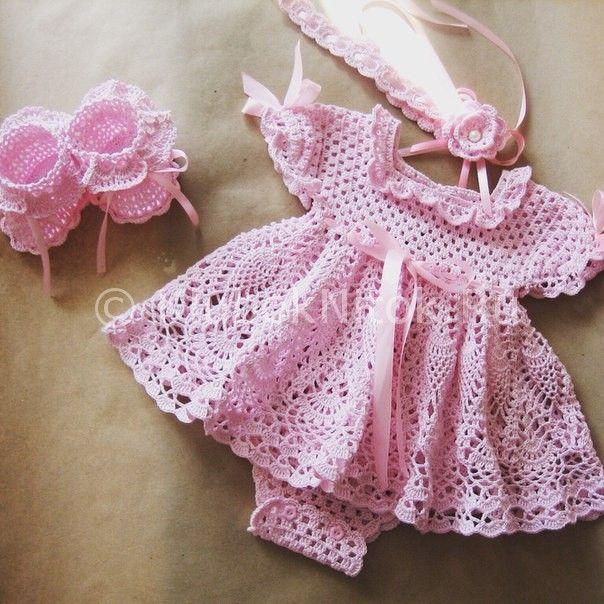 Вязание платья для малышей схемы