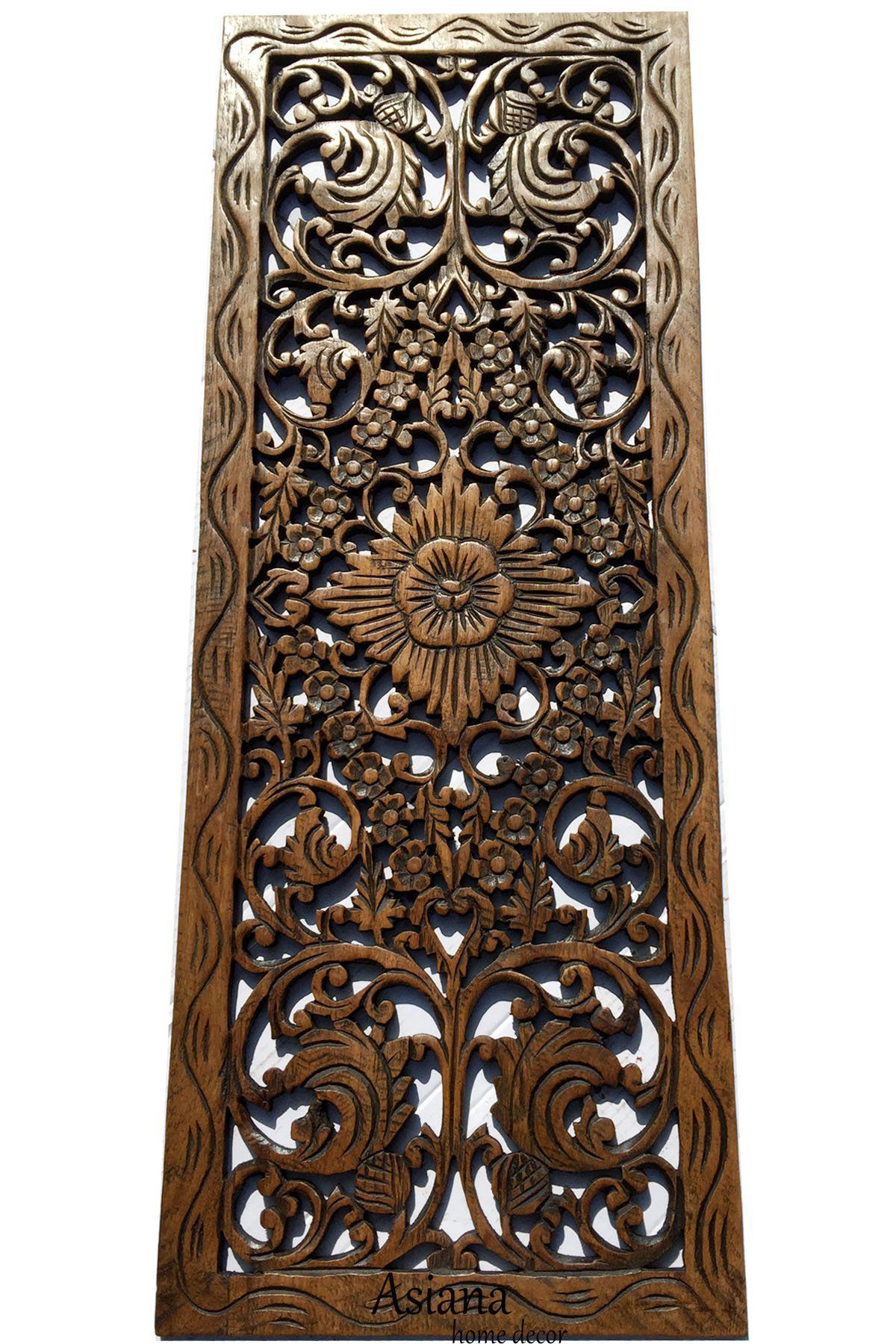 Fl Wood Carved Wall Panel Decoration Asian Home Decor Hanging Large Plaque 35 5 X13 X0 Asianhomedecor
