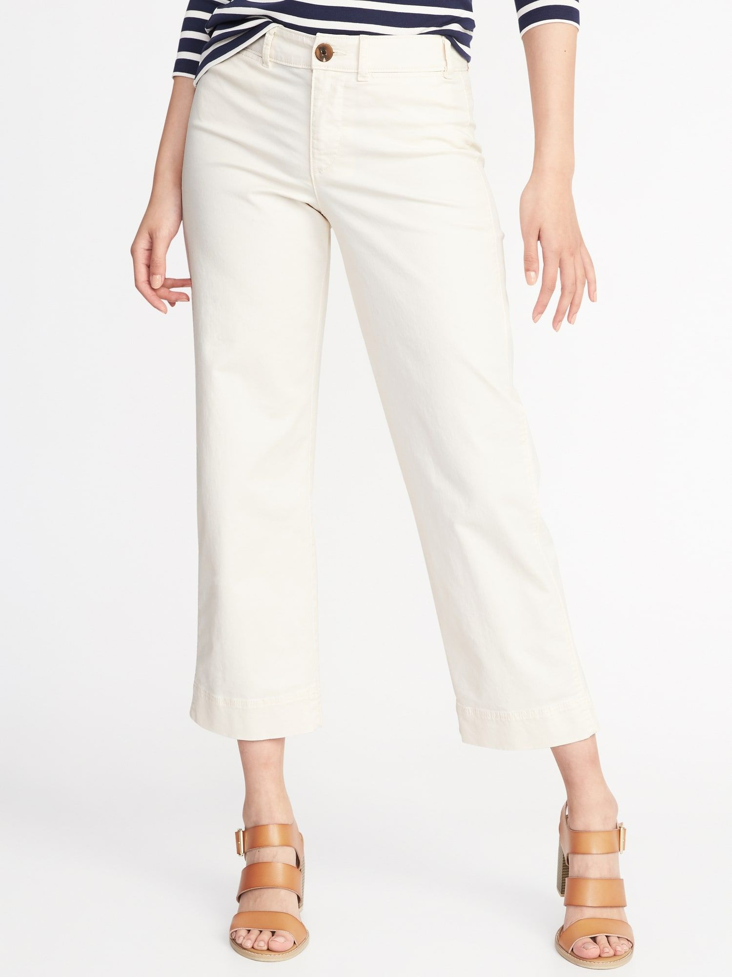 21337a333410 Mid-Rise Cropped Wide-Leg Chinos for Women