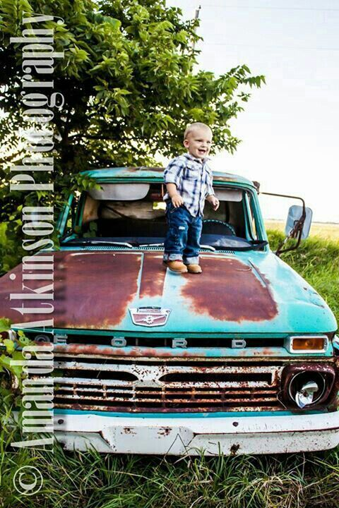 Little Country Boy Picture On An Old Ford Truck So Cute Baby Boy