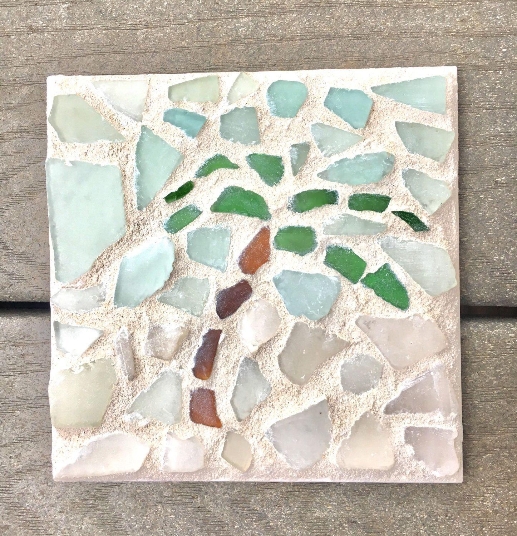 Sea glass mosaic tile trivet palm tree with white sand and blue sea glass mosaic tile trivet palm tree with white sand and blue skies beach dailygadgetfo Choice Image