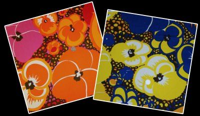 These are variations on the Marjatta Metsovaara fabric we had framed - think the blue yellow and oranges from these.