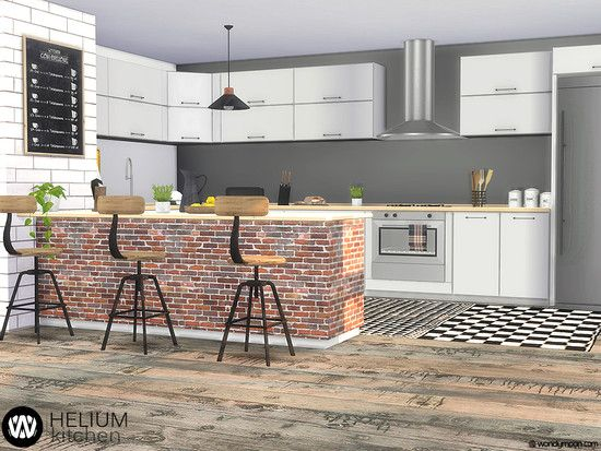 Helium Kitchen With Brick Island And Industrial Style Barstools Enjoy Cooking Found In Tsr Category Sims 4 Kitchen S Sims 4 Kitchen Sims House Kitchen Sets