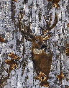 Realistic American Wildlife Deer Buck /& Doe Nature Outdoors Fabri-Quilt #4392