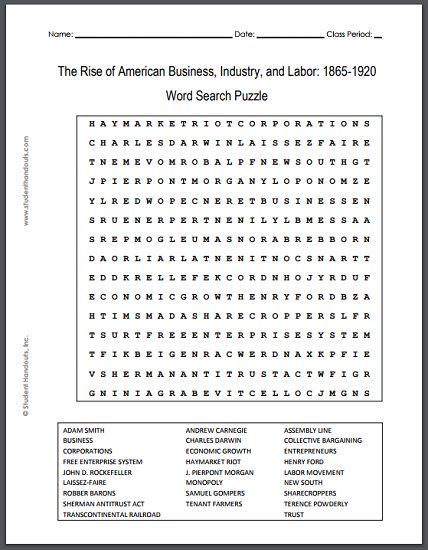 picture regarding Printable Word Search Pdf named Increase of American Company, Current market, and Labor: 1865-1920