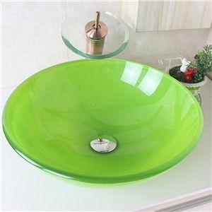 Modern Waschbecken Rund Glas Aufsatz Waschschale mit Wasserfall ... | {Waschbecken rund glas 91}