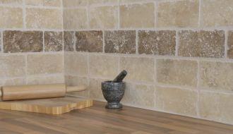 Natural Stone Tumbledtravertinemarblewhitewalnutwalltiles Fair Kitchen Wall Tile Design Inspiration