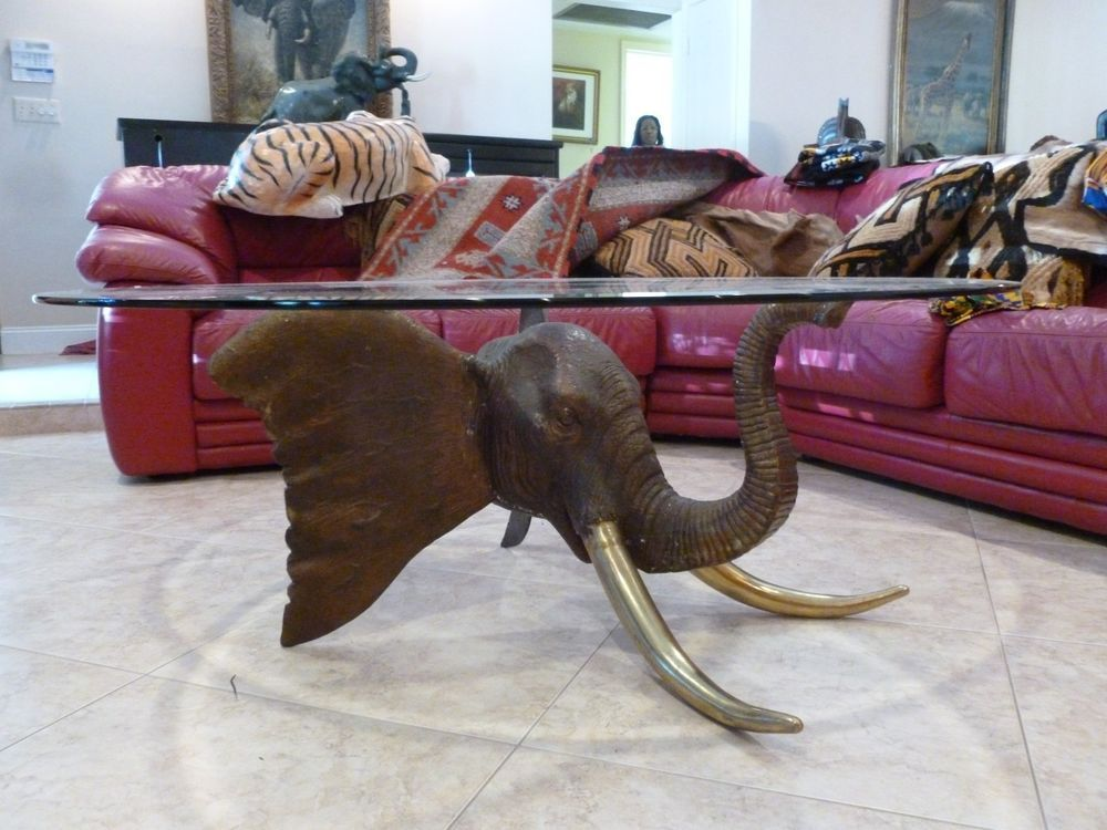 Big Vintage African Safari Solid Bronze Elephant Head W Brass Tusks Coffee  Table