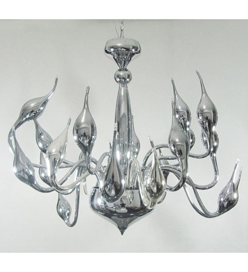 Modern murano glass style chandelier stylishly finished in chrome modern murano glass style chandelier stylishly finished in chrome aloadofball Choice Image
