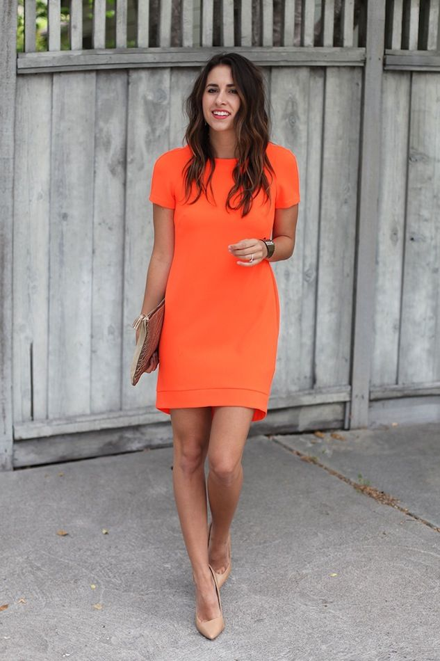 LOOKS FASHION PARA O TRABALHO | Orange dress, Nude pumps and Work ...