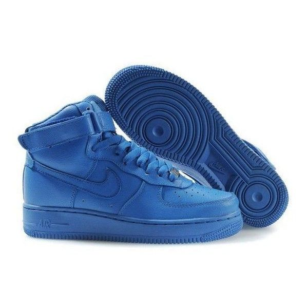Nike Air Force Ones Mens Hi Tops All Royal Blue Polyvore Nike