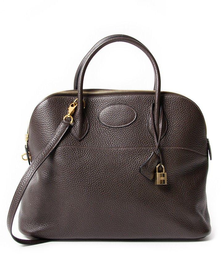 3865835f5e4f Hermès Bolide 35 Chocolat Brown Clemence seconde main authentique shopping  en ligne webshop Anvers Belgique LabelLOV designer marques luxe sacs en  vogue ...