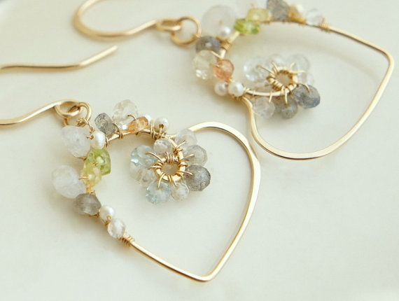 Heart Dangle Earrings Wire Gold Wrapped Multiple by YukoDesigns, $53.00