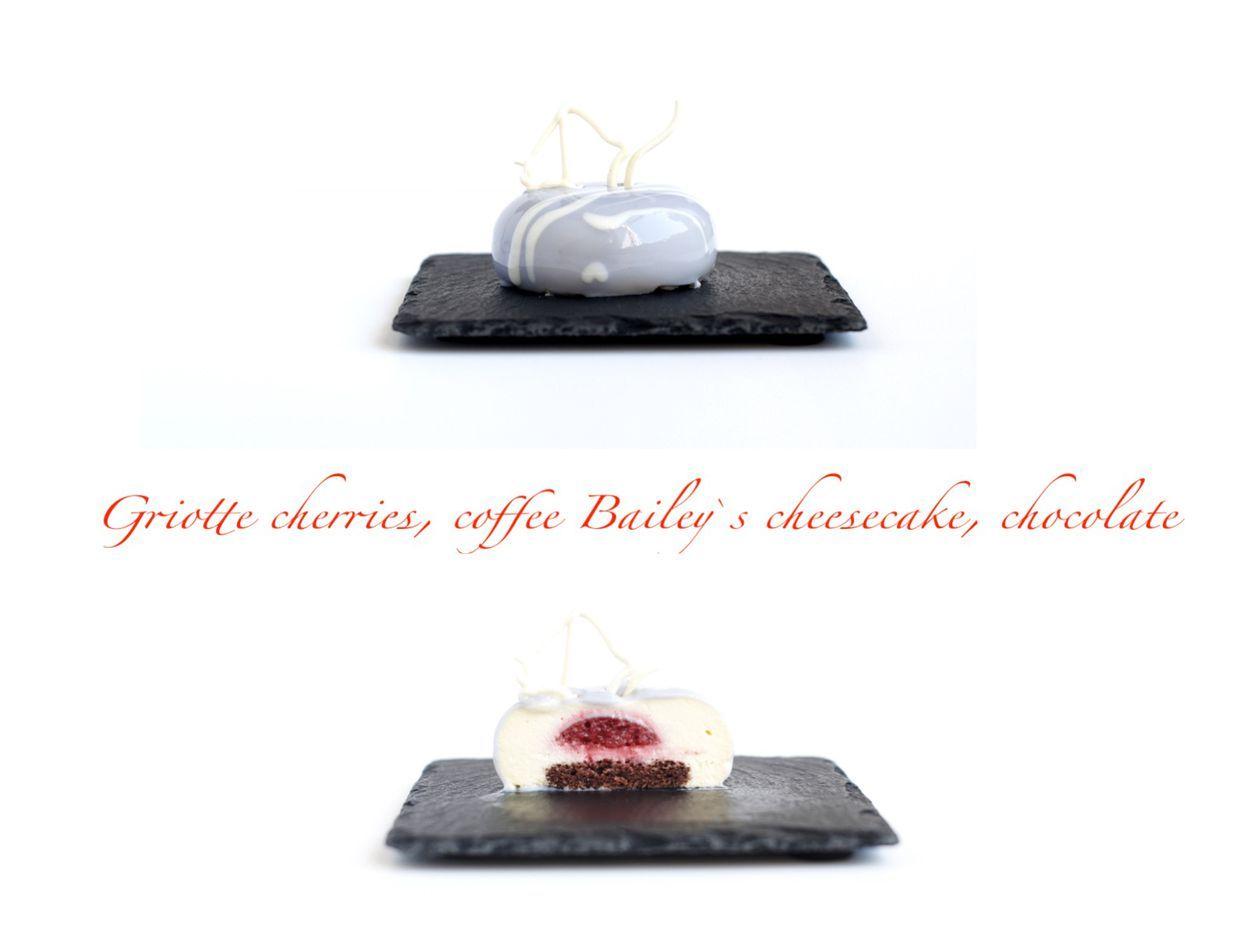 Griotte cherries, coffee Bailey's cheesecake & chocolate dessert