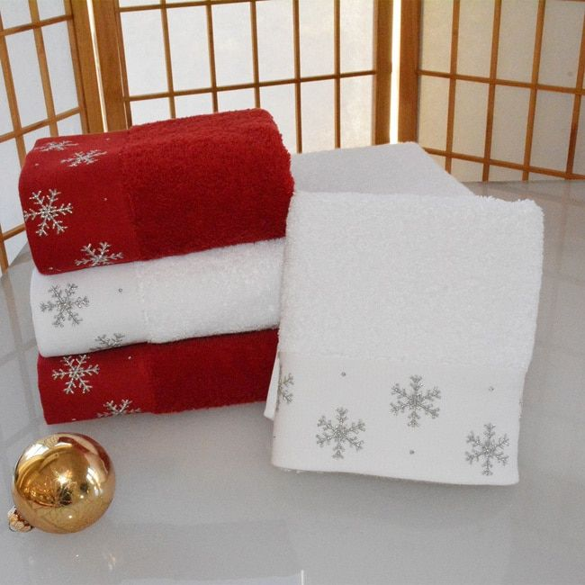 Decorative Hand Towel Set Embellished w// Christmas Stockings Ivory Turkish Cott