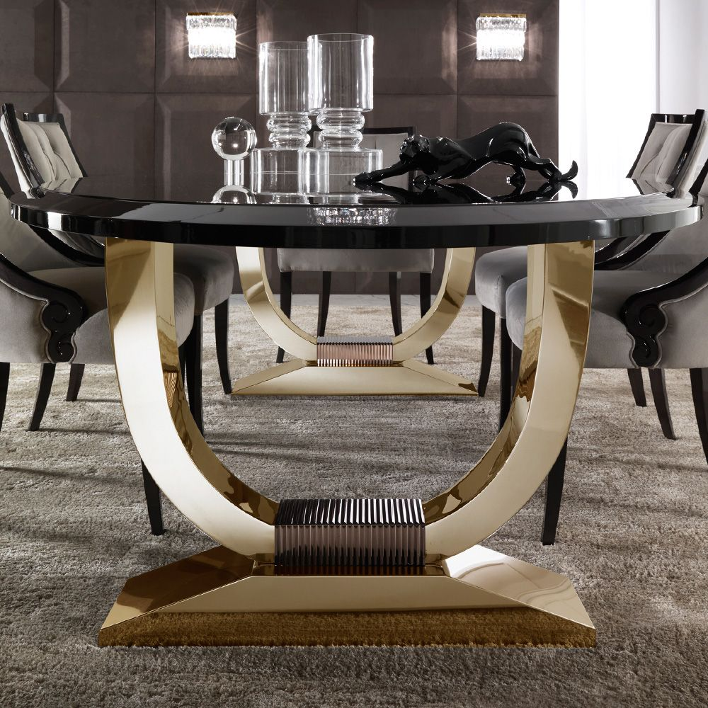 Italian Black Lacquered Gold Oval Dining Table Luxury Dining
