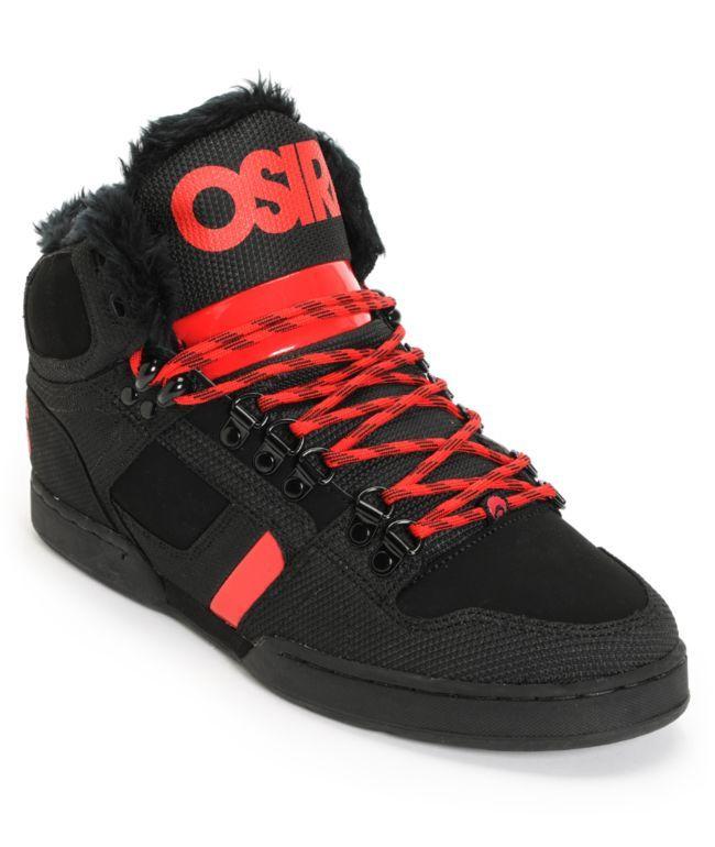 Osiris NYC 83 Black, Red & Shearling Shoes | Zumiez