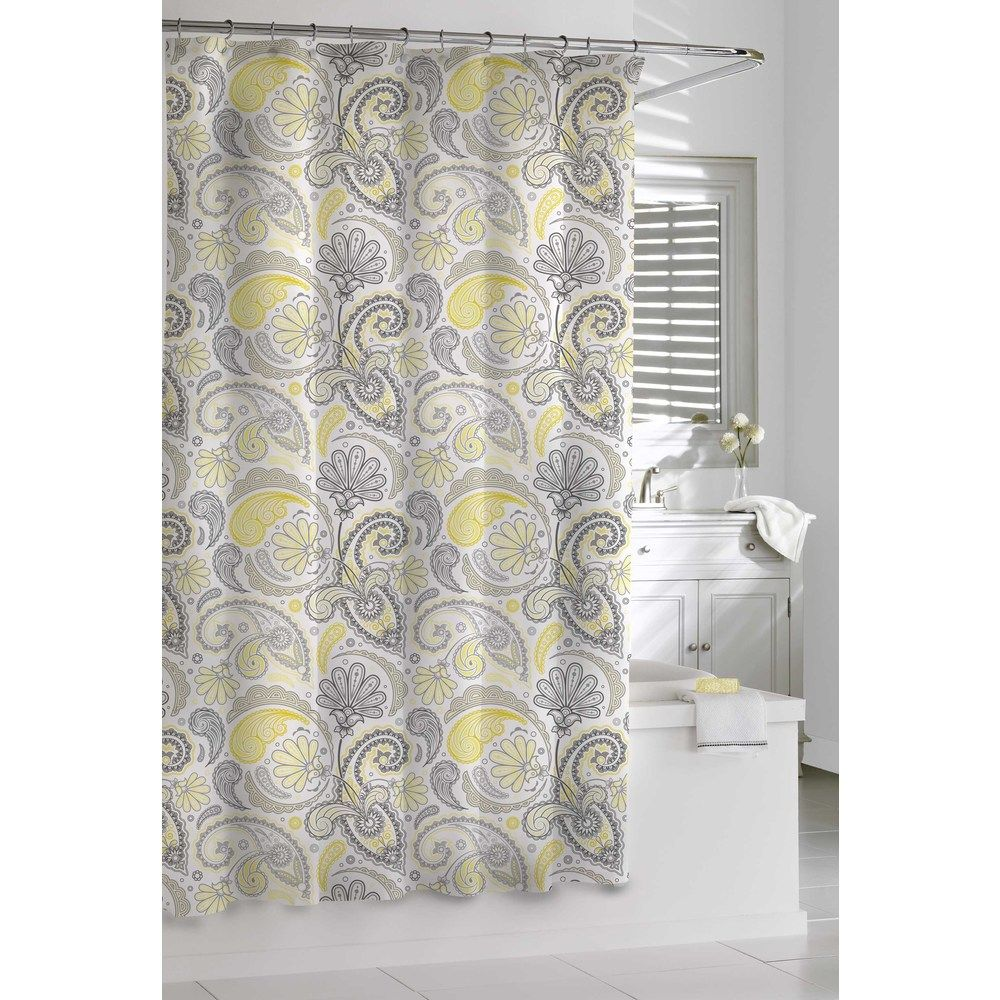 Garden Paisley Yellow and Grey Shower Curtain | Overstock.com ...