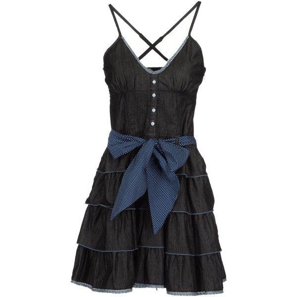 Portobello By Pepe Jeans Short Dress ($69) ❤ liked on Polyvore featuring dresses, blue, vestiti, blue dress, cotton mini dress, blue ruffle dress, zipper dress and sleeveless cotton dress